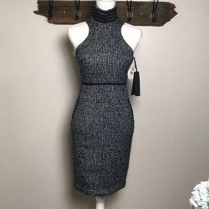 Karl Lagerfeld Dress Tweed Halter Rhinestone NWT